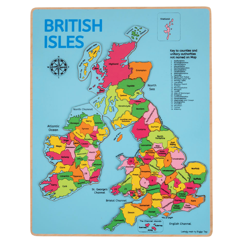 Uk Counties Map Wooden Jigsaw Puzzle