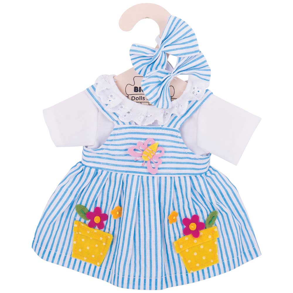 Bigjigs Toys Blue Striped Rag Doll Pyjamas for 38cm Soft Doll Years Suitable for 2