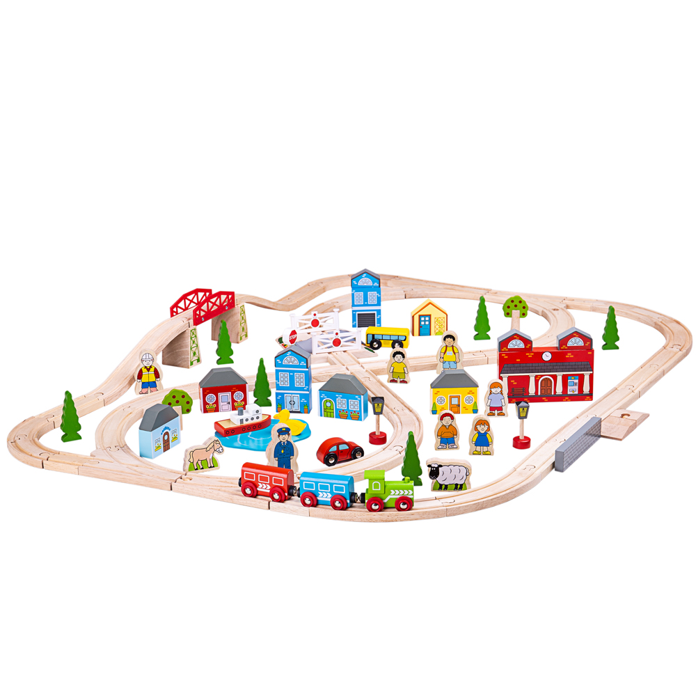Bigjigs Rail Wooden Sweetland Express Train Playset with 3 Carriages for Kids