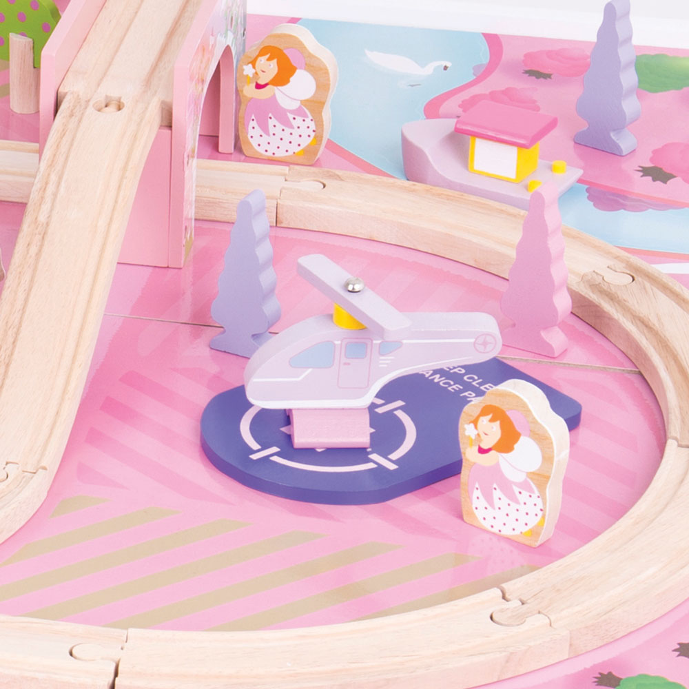 Bigjigs Rail Magical Wooden Train Set And Table Pink